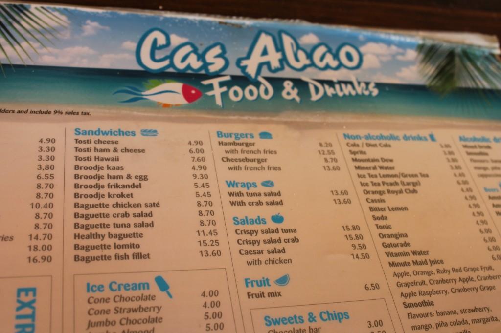Cas Abou menukaart restaurant