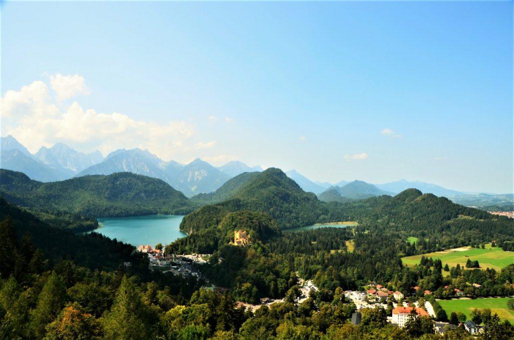 Uitzicht op Hohenschwangau en de Alpsee